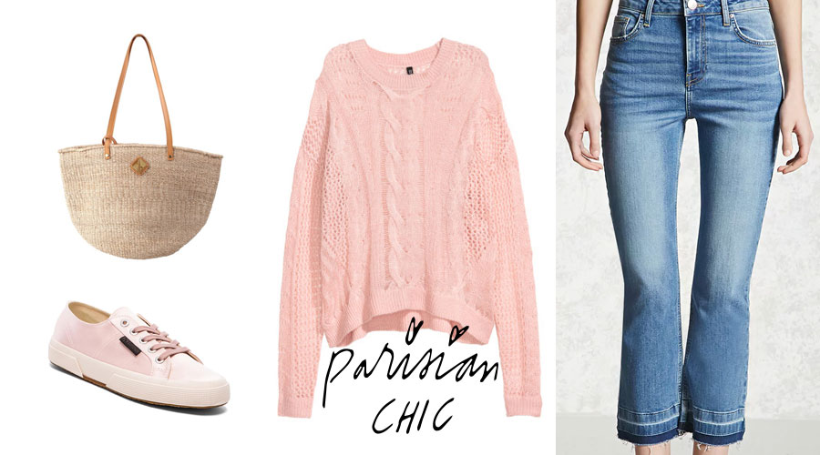 Parisian Chic outfit featuring pink sweater and blue jeans