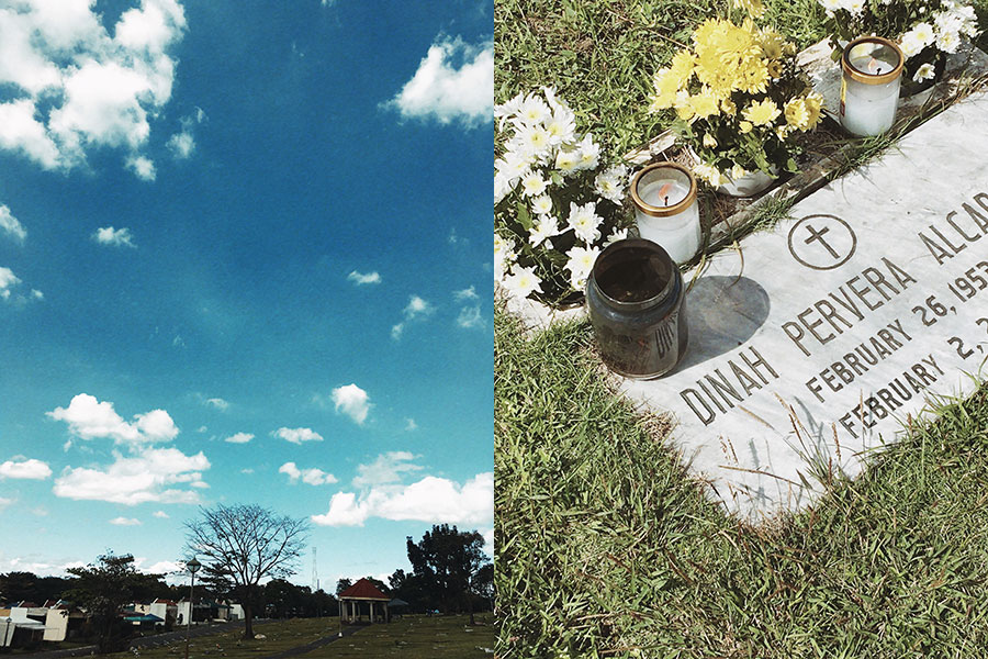 blue skies and mom's tombstone