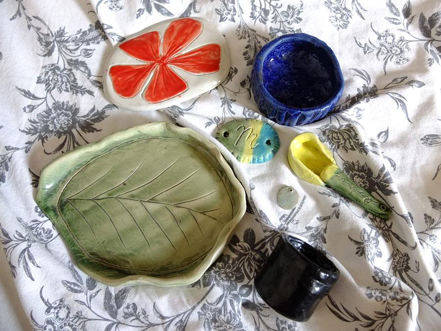 Slab pottery pieces by Macy Alcaraz