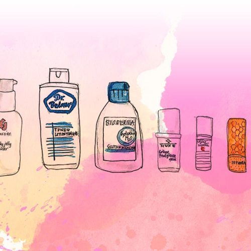 Illustration of Glossier milky jelly cleanser, Dr. Belmeur toner, Bioderma micellar water, Nuxe Prodigieuse eye cream, MAC Lightful C eye brightener, Sephora lip balm, Drunk Elephant Hydra-B serum