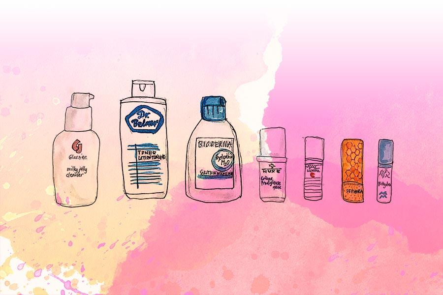 Illustration of Glossier milky jelly cleanser, Dr. Belmeur toner, Bioderma micellar water, Nuxe Prodigieuse eye cream, MAC Lightful C eye brightener, Sephora lip balm, Drunk Elephant Hydra-B serum