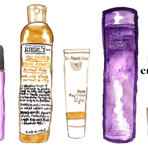 Watercolored beauty products