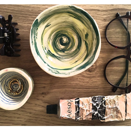 Pottery, hand cream, glasses, hair accessory