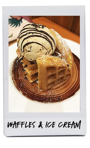 Elephant Grounds waffle with hazelnut ice cream