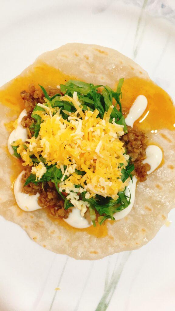 Tacos with homemade flour tortillas
