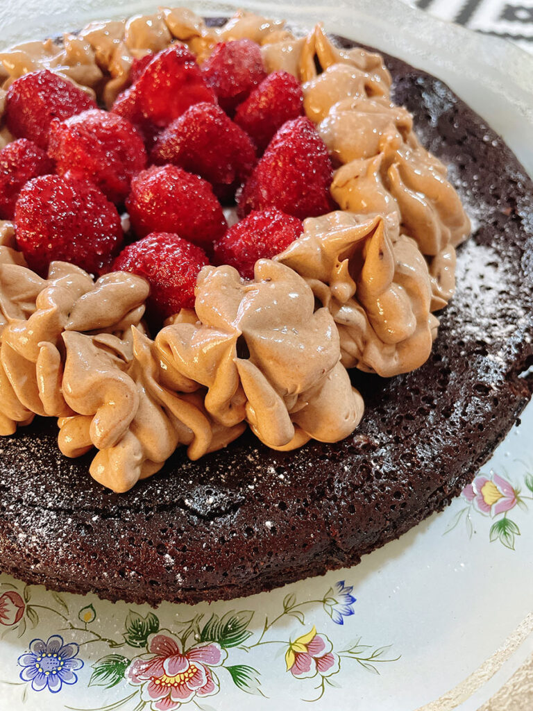 Flourless Chocolate Cake with Mocha Frosting